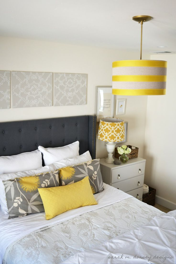 Danielle Oakey Interiors: DIY Tufted Headboard With Wings And Nailhead Trim  (love The Yellow/gray/white Color Scheme)
