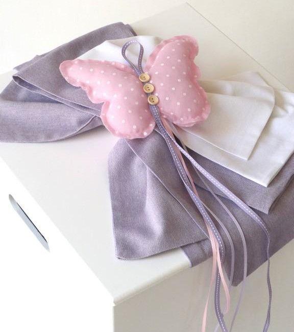 craft room - γάμος, βάπτιση, διακόσμηση: ξύλινο κουτί βάπτισης λευκό μωβ με υφασμάτινη πεταλούδα