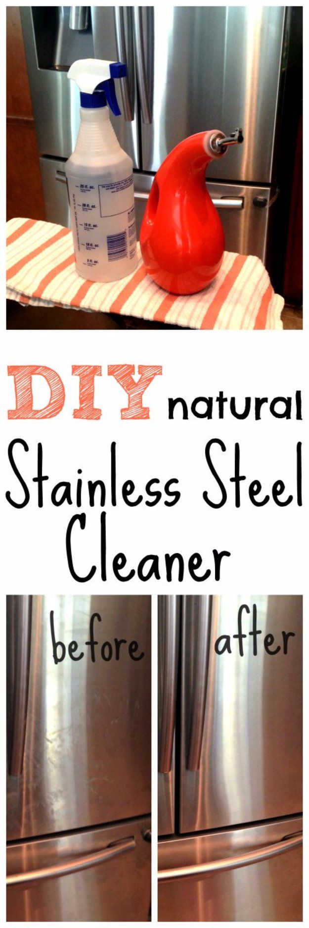 Best Natural Homemade DIY Cleaners and Recipes - DIY Natural Stainless Steel Cleaner Recipe  - All Purposed Home Care and Cleaning with Vinegar, Essential Oils and Other Natural Ingredients For Cleaning Bathroom, Kitchen, Floors, Laundry, Furniture and More http://diyjoy.com/best-homemade-cleaners-recipes