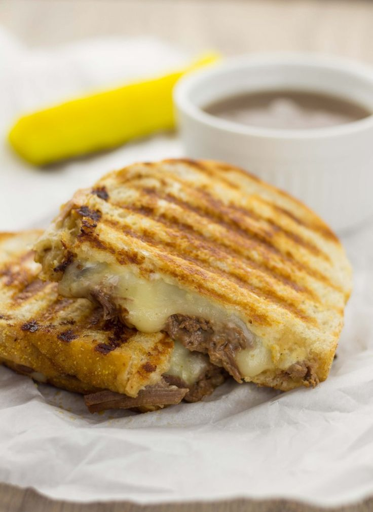 French Dip Brisket Panini with Au Jus » The Table
