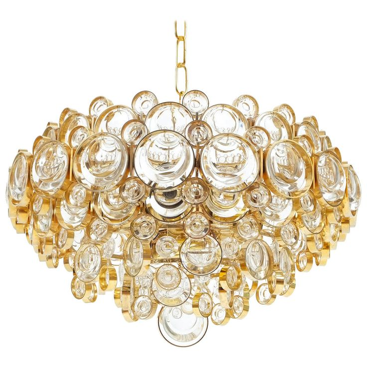 Beautiful And Large Gilded Palwa Brass Glass Chandelier From A Unique Collection Of Antique