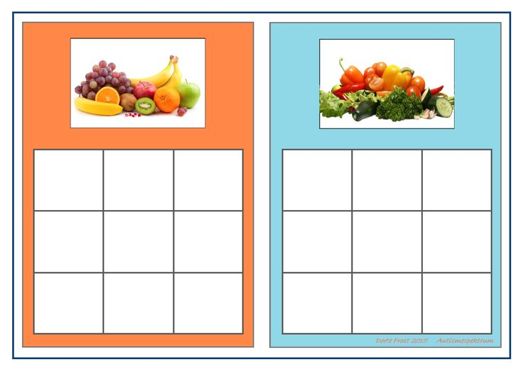 Board for the fruit/vegetable sorting game. Find the belonging tiles on Autismespektrum on Pinterest. By Autismespektrum