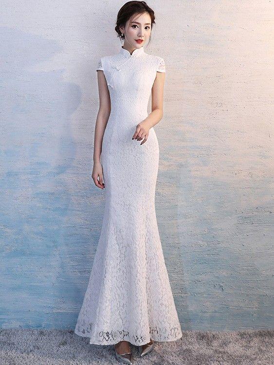 eed0b5700 White Lace Long Qipao / Cheongsam Wedding Dress - CozyLadyWear | Wedding in  2019 | Cheongsam wedding, Wedding dresses, Chinese wedding dress traditional