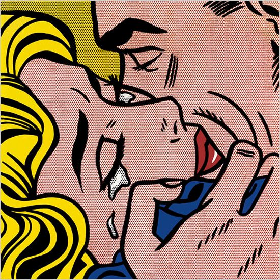 "Roy Lichtenstein White is a crucial element in these works, visible in highlights, like the woman's tears of happiness in ""Kiss V."" But mainly white is filtered through the scrims of Ben-Day dots. Lichtenstein's cultivation and manipulation of the dot pattern is one of the show's main subtexts. Photo: Estate of Roy Lichtenstein, courtesy of Gagosian Gallery"