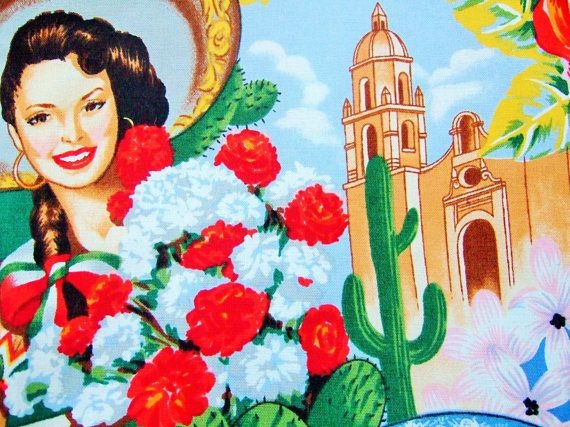 Makeup bag with Mexican fabric inside and out. This pin up cosmetic bag features Spanish fabric showing gorgeous senoritas surrounded with colourful flowers and cactus against a Mexican background. The lining of this kitsch gift is a Frida Kahlo fabric with images of the artist