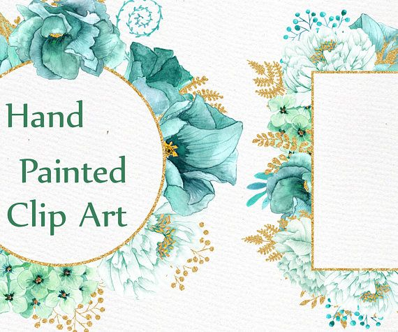 Gold Mint Flower Frames Clipart Watercolor Clipart Wedding