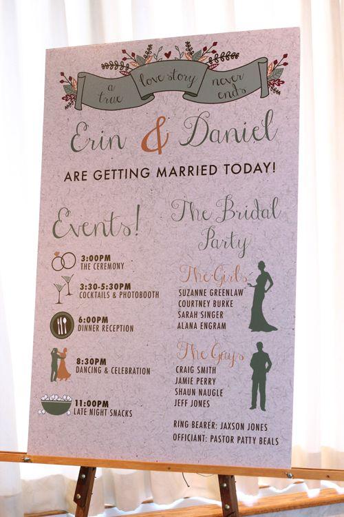 event board. ceremony program, order of event board on easel, fall wedding program