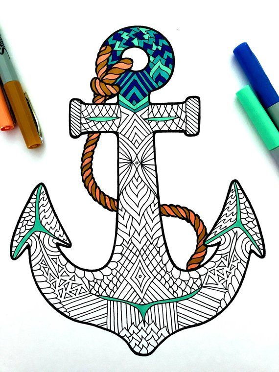 Anchor - PDF Zentangle Coloring Page   Products in 2019 ...