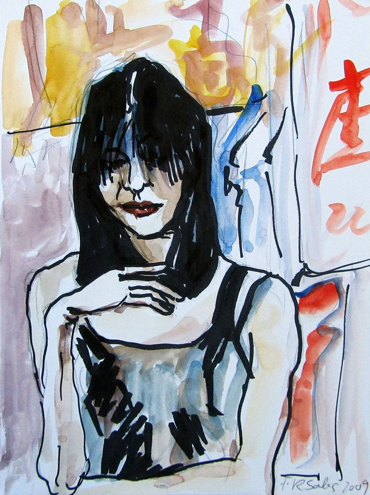 """""""Asian girl"""" Watercolor and black marker on paper. Madrid, 2009."""