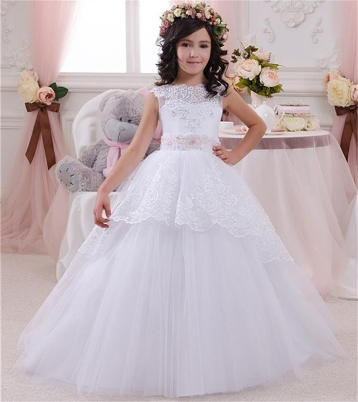 Sweet White Ivory Lace First Communion Dresses For Girls 2016 Ball Gowns Flower Girl Dresses For Weddings Girls Pageant Dresses