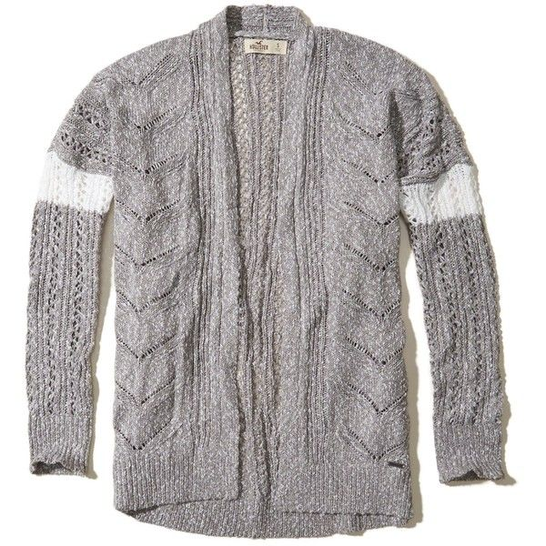 Hollister Open Stitch Slouchy Cardigan (2.355 RUB) via Polyvore featuring tops, cardigans, grey, striped cardigan, gray striped cardigan, short-sleeve cardigan, grey top и stripe top