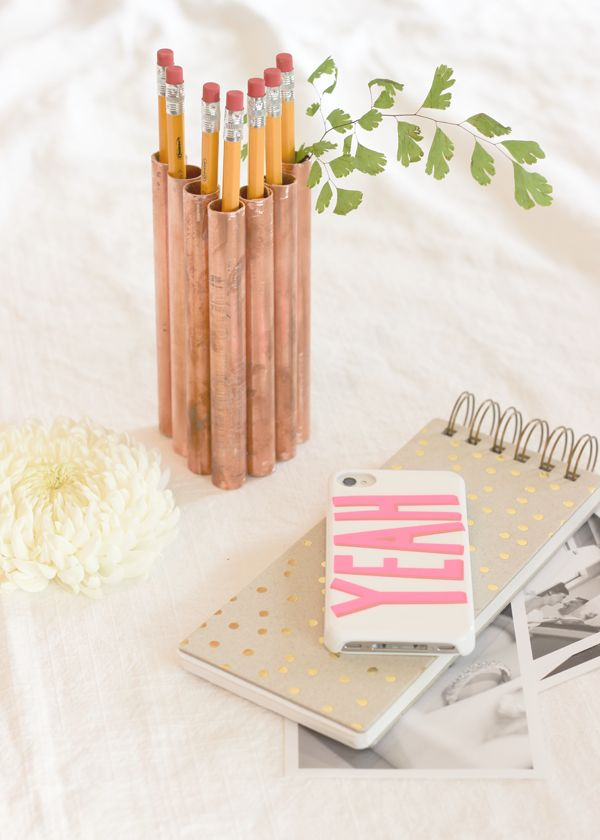 DIY: copper pipe pencil holder