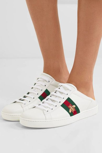 Gucci - Ace Embroidered Collapsible-heel Leather Sneakers - White