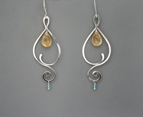 Sterling silver spiral vine earrings with gemstones, Rachel Wilder Handmade…