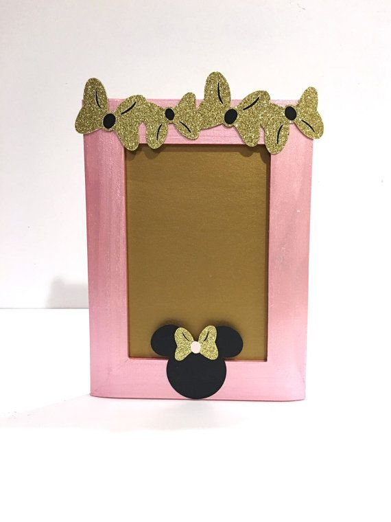 Minnie Mouse Picture Frame - Gold and Pink Minnie Mouse Birthday Party - 4x6 Frame - Party Centerpiece