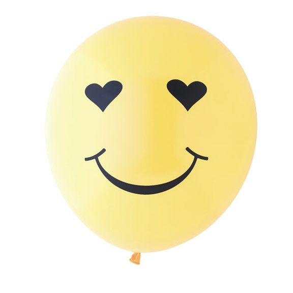 Emoji Heart Eyes Balloon, Sunshine Yellow/Black