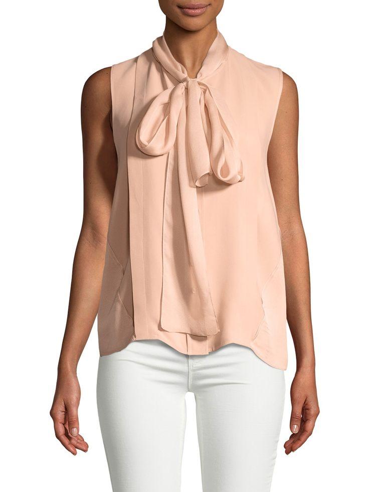 CAROLINA HERRERA WOMEN'S NECK TIE SILK BLOUSE - CREAM/TAN, SIZE 8. #carolinaherrera #cloth #