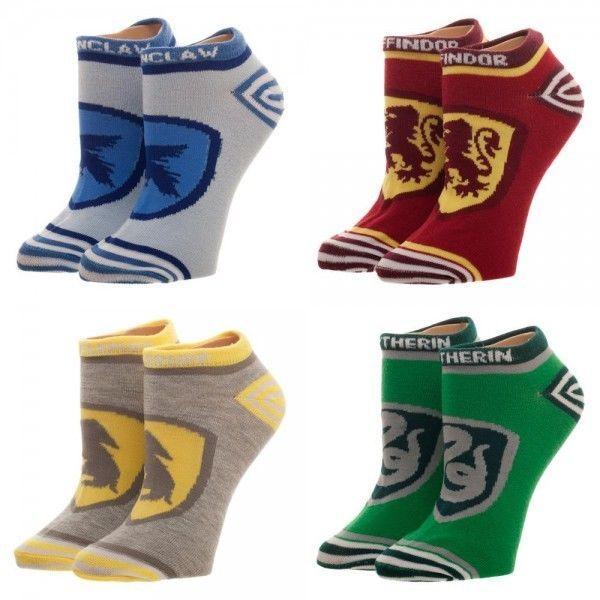 4 Harry Potter Juniors Ankle Socks Set Gryffindor Slytherin Hufflepuff Ravenclaw #Bioworld #AnkleHigh