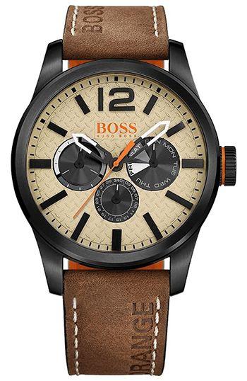 Montre Hugo Boss Orange Homme 1513237 - Quartz - Analogique - Cadran en Acier Noir - Bracelet en Cuir Marron - Jour et Date - Montre Allemande