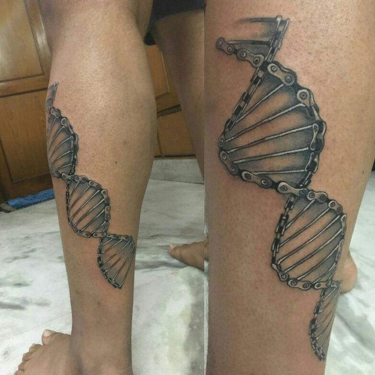 Biking DNA tattoo