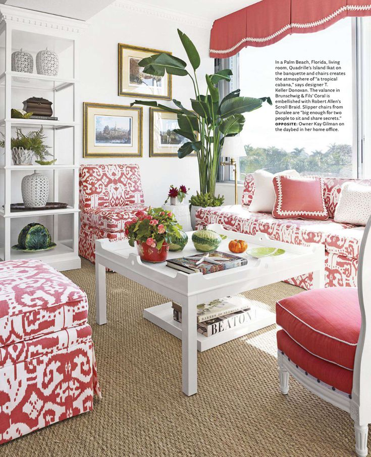 Quadrille Island Ikat Fabric On Seating. Palm Beach Living Room By T Keller  Donovan. Image Courtesy Of House Beautiful.