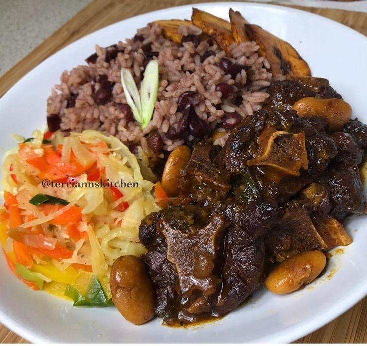 oxtails and ricepeas  oxtails and rice rice and peas food