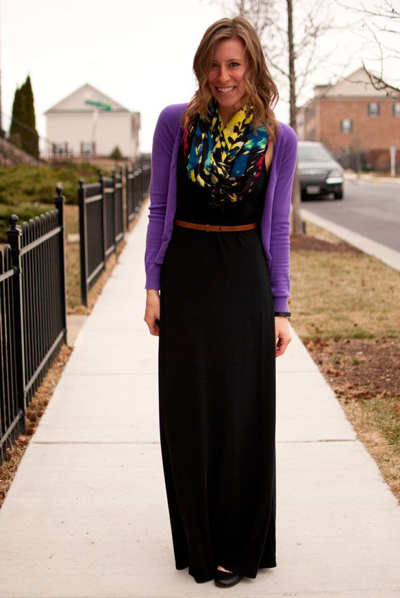 OOTD - black, maxi dress, purple cardigan, scarf, skinny belt, brown belt, brunch outfit, outfit idea, casual