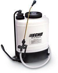 Echo MS-40 Heavy Duty 4 Gallon Backpack Pump Sprayer by ECHO. $99.99. Safety check valve prevents leaks if tipped.. Easy to maintain and service.. 16 in. brass wand with spray fan nozzle. Hose is rated at 300 psi.. Steel pump handle folds back for easy transport and storage.. High density polyethylene tank with UV inhibitors.. The powerful MS-40 sprayer features safety check valves to prevent leaks, a recirculating agitator to keep chemicals mixed and an ergonomic shou...