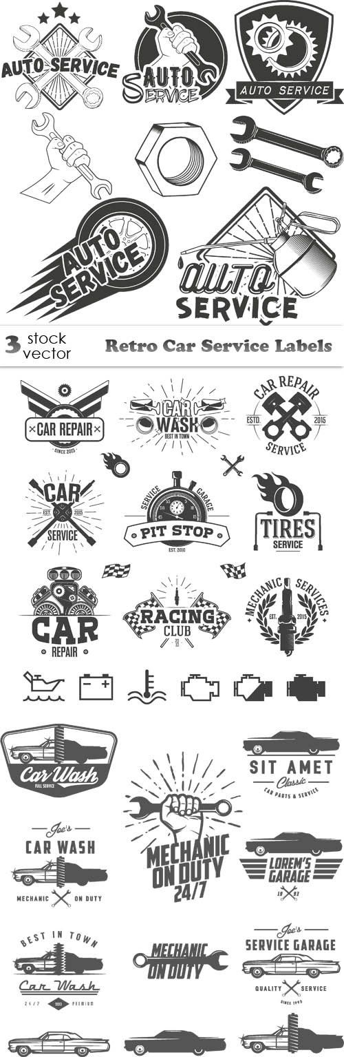 Vectors - Retro Car Service Labels