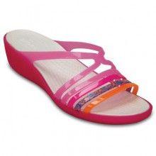 Crocs růžové pantofle na klínku Isabella Mini Wedge W Party pink/Candy pink - 1799 Kč