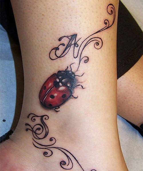 Cute Lady Bug Tattoo On Forearm