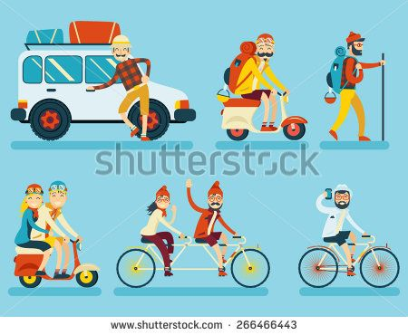 Happy Smiling Man Geek Hipster Character Car Traveler Backpack Schooter Bike Icon Travel Lifestyle Vacation Tourism and Journey Symbol Background Flat Design Template Vector Illustration