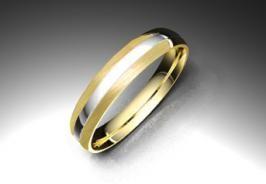Alianza de oro blanco y amarillo de 18K modelo Bbrillo #bodas #alinzas #novia | cnavarro.com