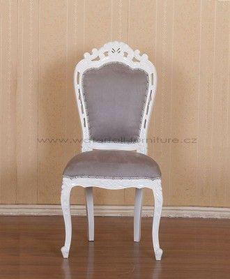 Bílá retro zámecká židle