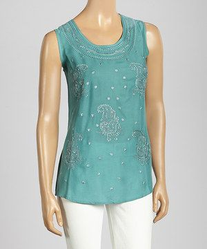 Love this Trisha Tyler Turquoise Paisley Embroidery Tank Top by Trisha Tyler on #zulily! #zulilyfinds