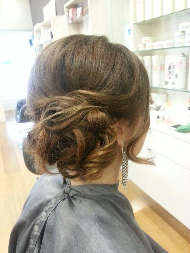 Curly side bun #formal