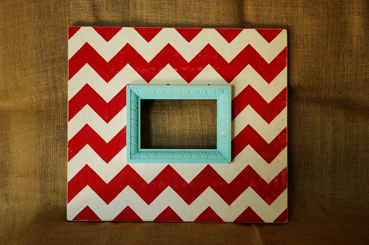 Mod Chevron Wood Distressed 4X6 Frame in Red, Cream, and Light Aqua. $45.00, via Etsy.