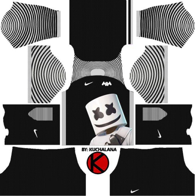 Marshmello Black Kit Dream League Soccer 2019 Parazonia Kits De Futebol Camisa De Futebol Camisas De Futebol