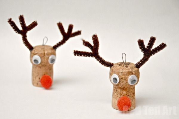 "Super cute Reindeer Ornaments - we love cork crafts. So cute and fun. Here we made a little Rudolph Ornament for the kids ""mini trees"","