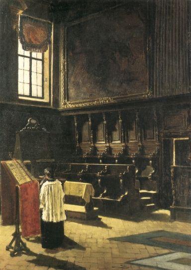 Il coro di S.Antonio, 1879, Olio su tela, Crema, collezione privata