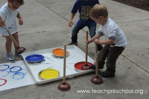 Take the Plunge and try Plunger Painting! by Teach Preschool