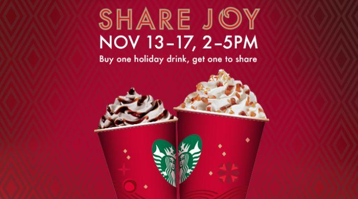 Starbucks BOGO FREE Holiday Drink – Share the Joy, Love, and FREE @Starbucks Loves Loves Holiday Drink #B1G1 #HotDeals