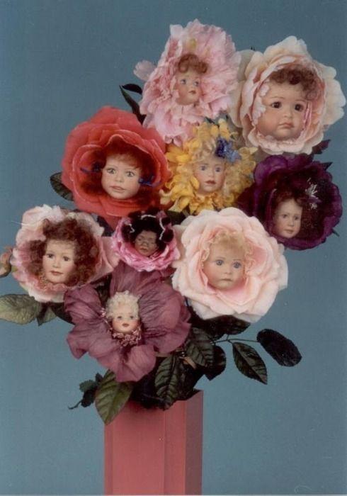 doll head flower bouquet