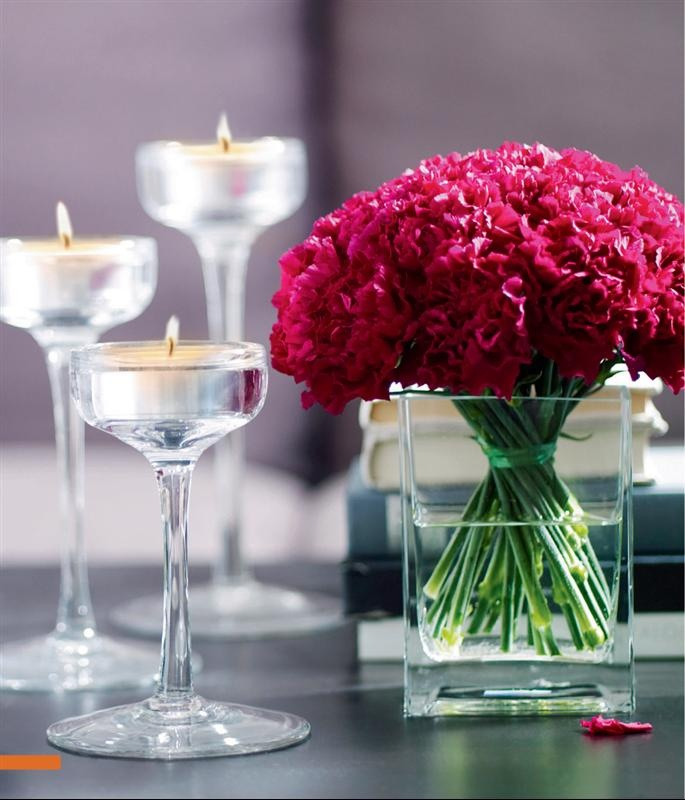 Our centerpieces-Ikea REKTANGLE vase with pink and white carnations.