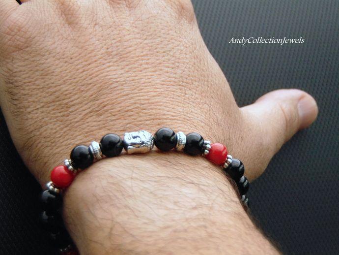 Buddha men bracelet, black agate men bracelet, coral men bracelet, black and red unisex bracelet, silver tone buddha bracelet, mala bracelet by AndyCollectionJewels, $18.00 EUR