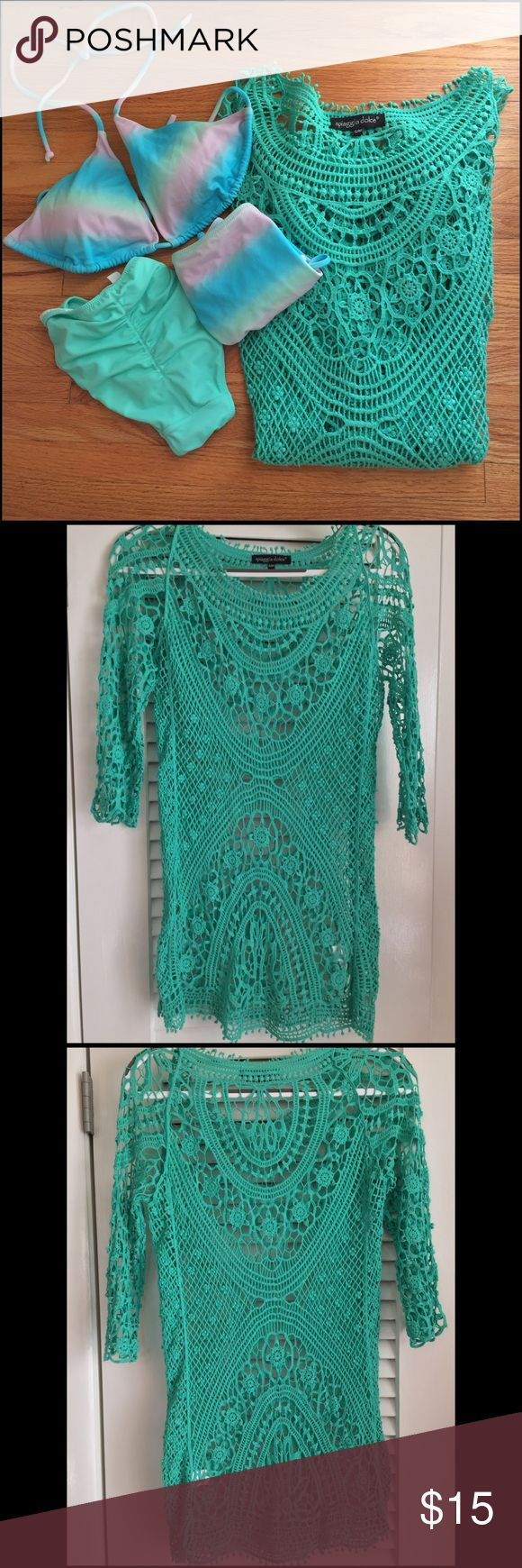 Crochet Swimsuit Coverup NWOT perfect to wear over your fav swimsuit or add a tank to wear with crops! 100% Cotton. spiaggia dolce Swim Coverups