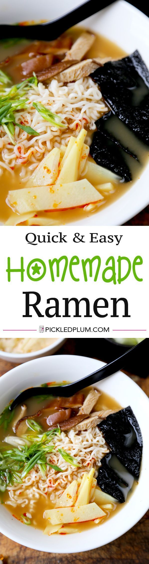 Quick and Easy Recipe for Homemade Ramen packed with Umami and Earthy flavors. Find classic Japanese Flavors in this bowl of Homemade Ramen that only takes 15 minutes to make! Recipe, noodles, soup, main, snack | pickledplum.com