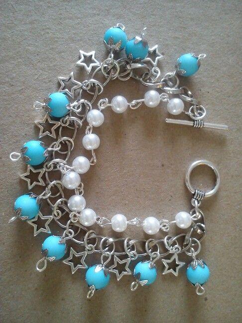 Doble pulsera perlas caucho y streyas