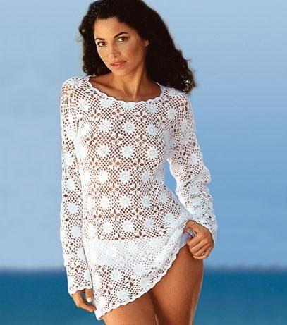 Per realizzare questa splendida tunica, che non vi farà passere inosservate sulla spiaggia, occorre 300 g di cottone bianco, uncinetto n....