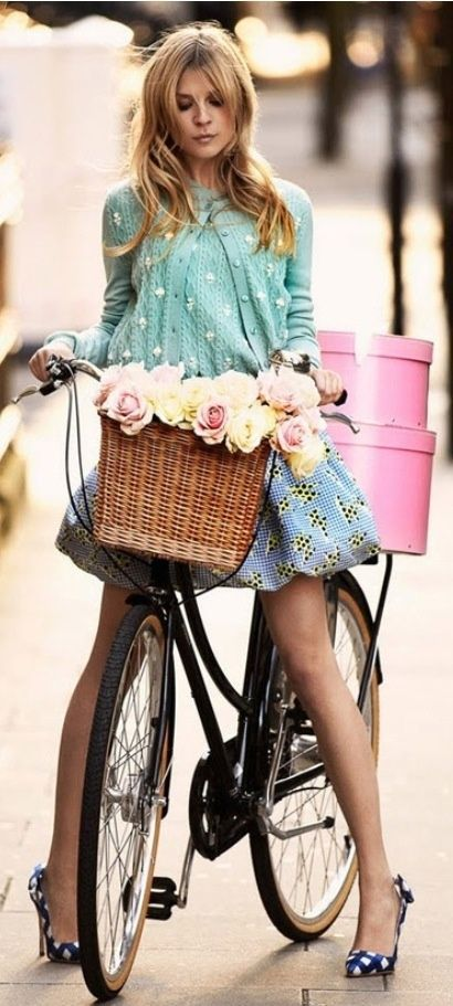 It isn't necessarily easy to ride your bike in heels, but if they complete a cute pastel look they're worth it.